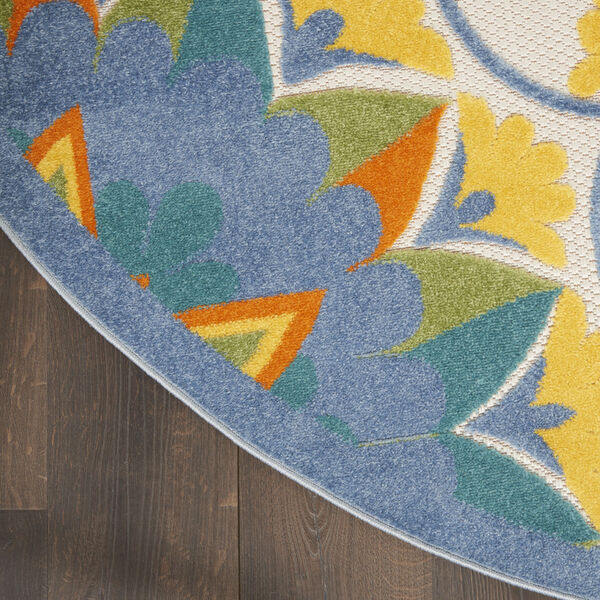Aloha Blue and Yellow 4 Ft. x 4 Ft. Round Indoor/Outdoor Area Rug, image 4