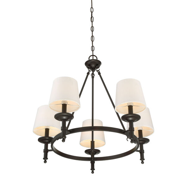 Wellington Rubbed Bronze Five-Light Traditional Chandelier with White Fabric Shade, image 2