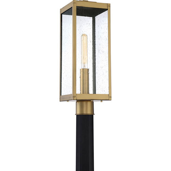 Pax Antique Brass One-Light Outdoor Post Mount with Seedy Glass, image 3