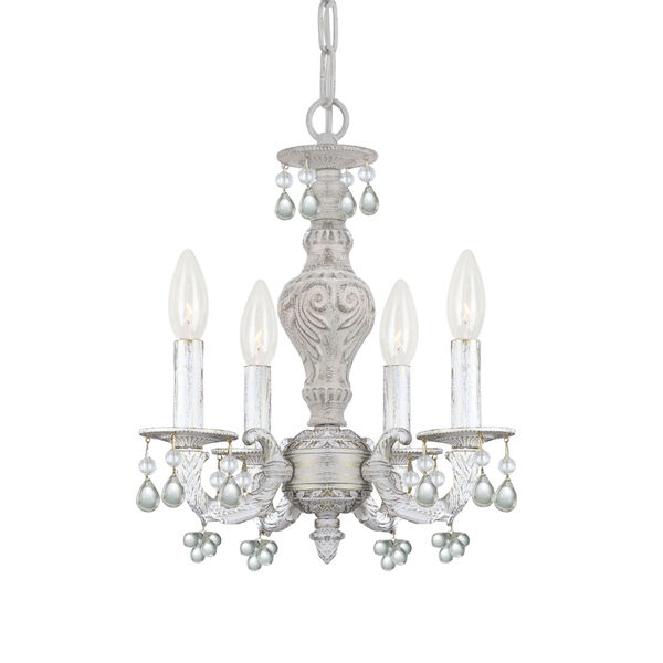 Antique White Clear Crystal Four-Light Mini Chandelier, image 1