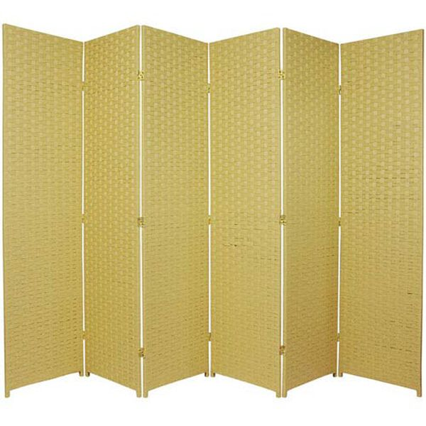 Six Ft. Tall Woven Fiber Room Divider Six Panel Dark Beige, Width - 102 Inches, image 1