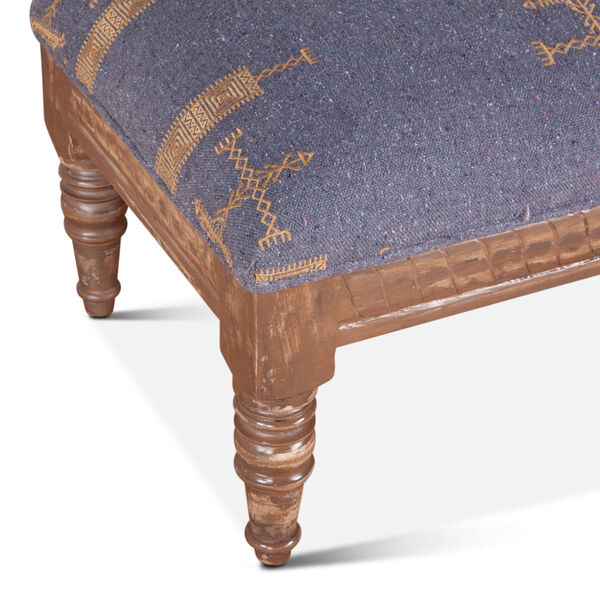 Algiers Blue and Brown Upholstered Stool, image 5