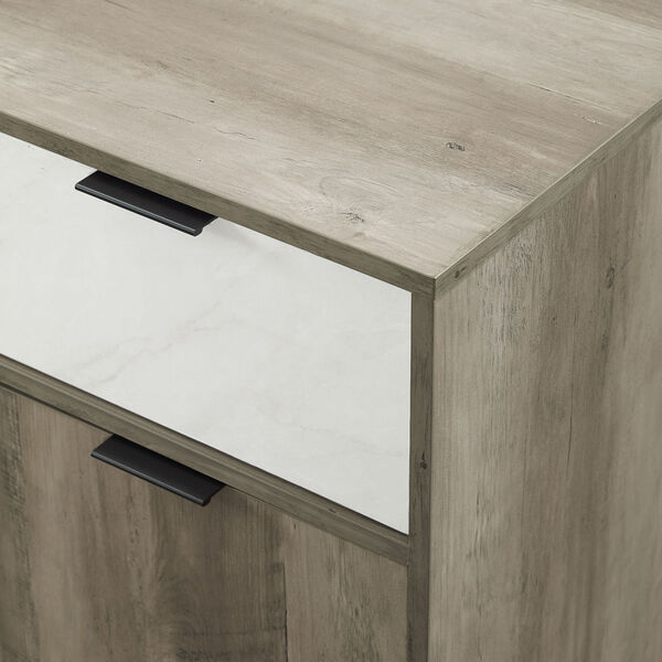 Baltic Faux White and Gray Sideboard with Two Drawer, image 5