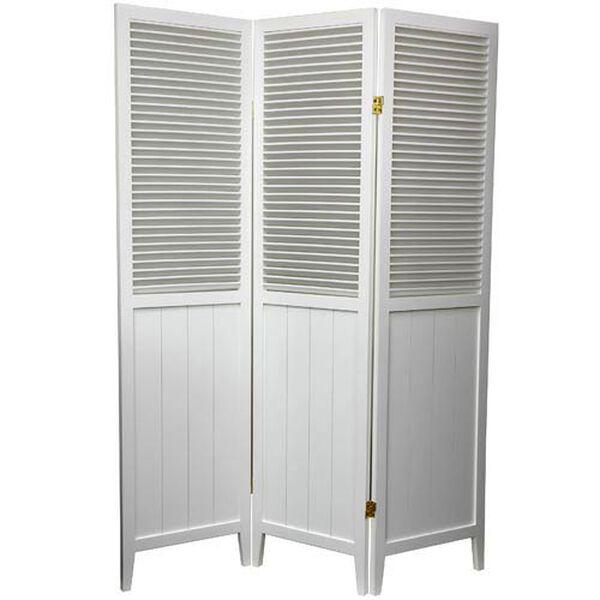 6 ft. Tall White Three Panel Beadboard Room Divider, image 1