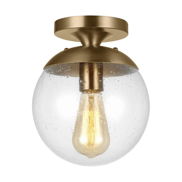 Leo Hanging Globe Satin Brass 8-Inch One-Light Semi Flush Mount, image 1