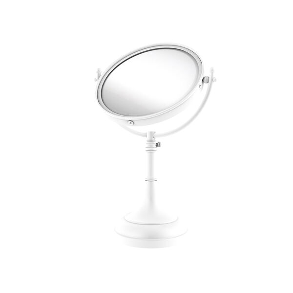Matte White Eight-Inch Height Adjustable 8-in Vanity Top Make-Up Mirror 3X Magnification, image 1