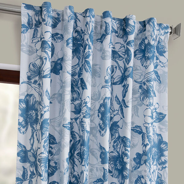 Blue Printed 84 x 50-Inch Polyester Blackout Curtain Single Panel, image 4