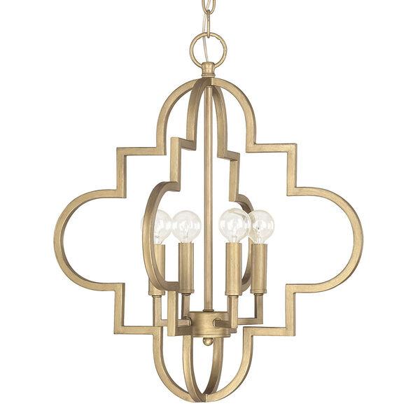 Ellis Brushed Gold 18-Inch Wide Four-Light Pendant, image 1