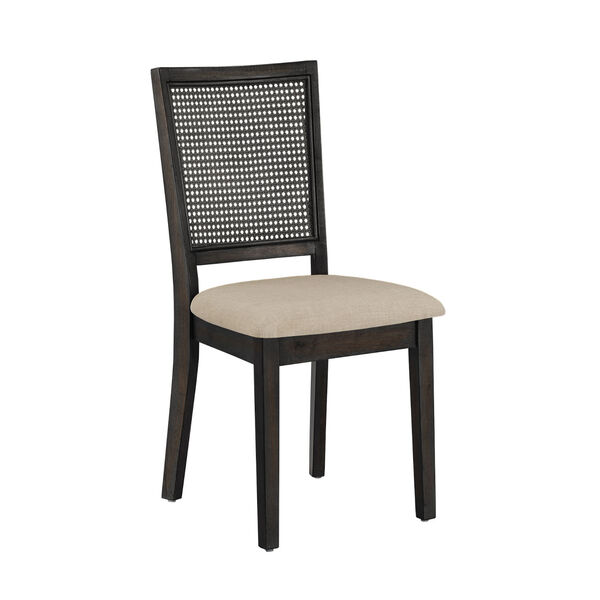 Caroline Beige and Black Rattan Back Dining Chair, Set of Two, image 1