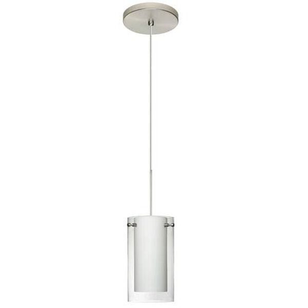 Pahu Satin Nickel Halogen Mini Pendant with Flat Canopy and Clear and Opal Glass, image 2