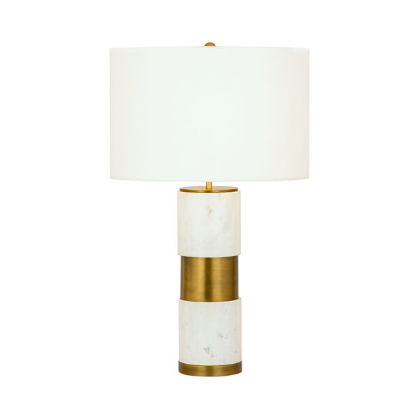 Jansen White Marble and Aged Brass One-Light Table Lamp, image 1