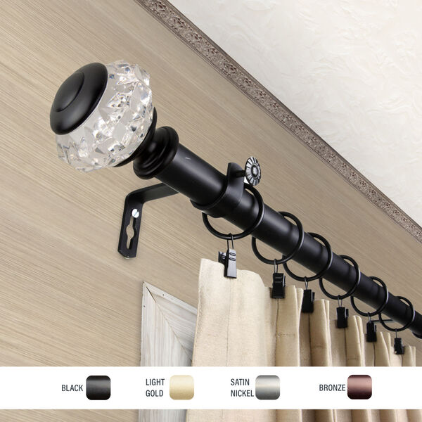 Inez Black 48-84 Inch Curtain Rod, image 3