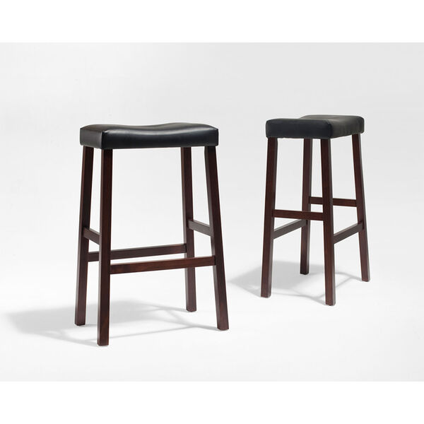 Upholstered Saddle Seat Bar Stool in Vintage Mahogany Finish with 29 Inch Seat Height- Set of Two, image 3