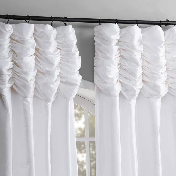 Ruched Eggshell 108 x 50-Inch Faux Silk Taffeta Curtain Single Panel, image 5