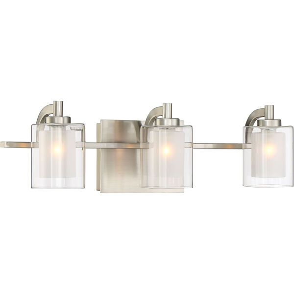 Kolt Brushed Nickel LED Three-Light Bath Light, image 3