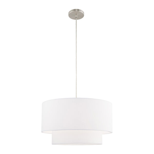 Clark Brushed Nickel 20-Inch One-Light Pendant Chandelier with Hand Crafted Off-White Hardback Shade, image 1