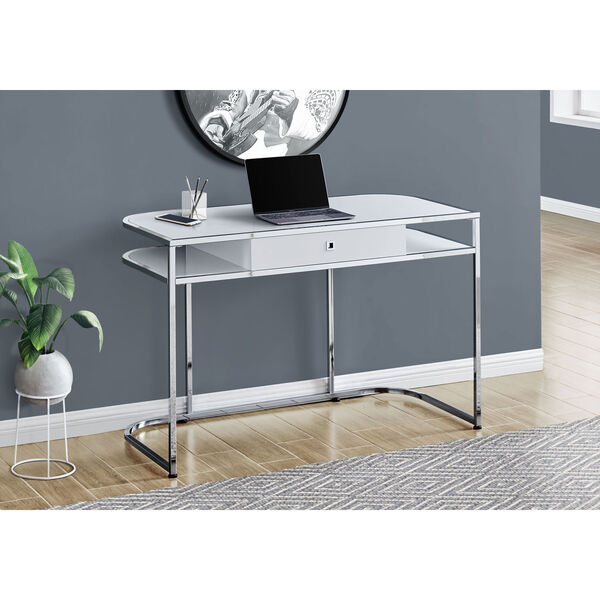 Glossy White and Silver Computer Desk, image 2