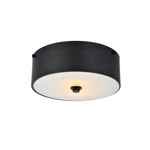 Hazen Flat Black and Frosted White Two-Light Flush Mount, image 1
