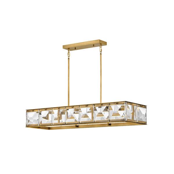 Jolie Heritage Brass LED Linear Pendant, image 1