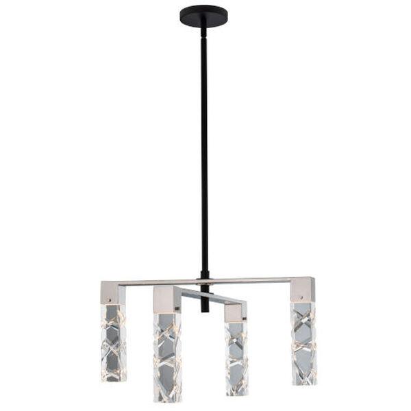 Serres Matte Black Polished Nickel Four-Light LED Chandelier with Firenze Crystal, image 1