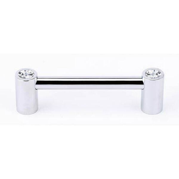 Contemporary Polished Chrome 3 1/2-Inch Crystal Pull, image 1
