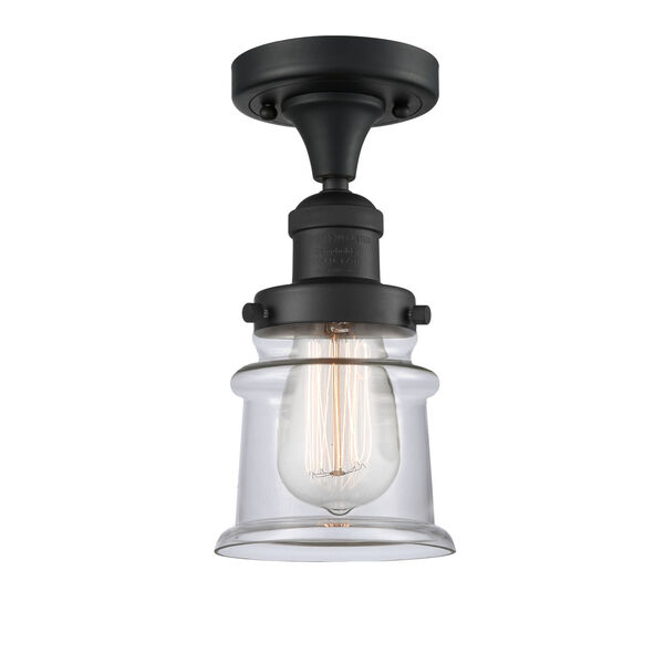 Franklin Restoration Matte Black 12-Inch One-Light Semi-Flush Mount with Small Clear Canton Shade, image 1