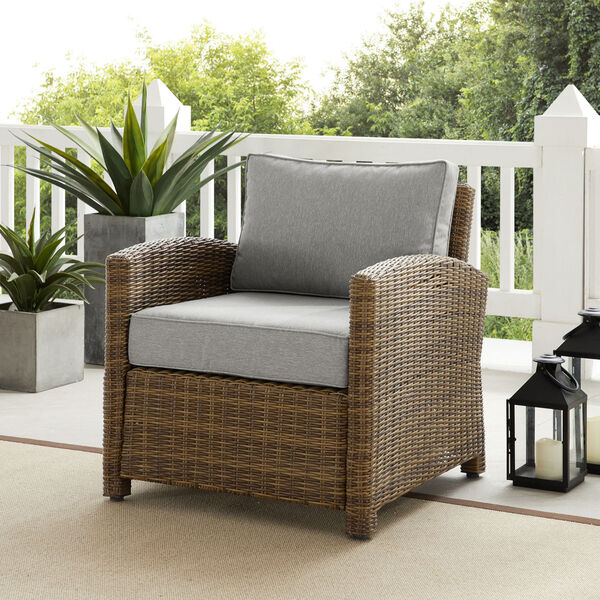 Bradenton Weathered Brown and Gray Outdoor Wicker Armchair, image 2