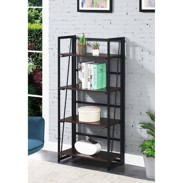 Xtra Espresso and Black Folding Four Tier Bookshelf, image 2