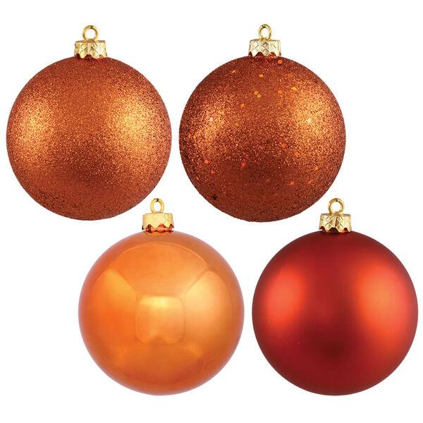 Burnish Orange 6-Inch Four Finish Ball Ornament, Set of Four, image 1