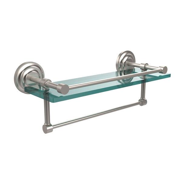 16 Inch Gallery Glass Shelf with Towel Bar, Satin Nickel, image 1