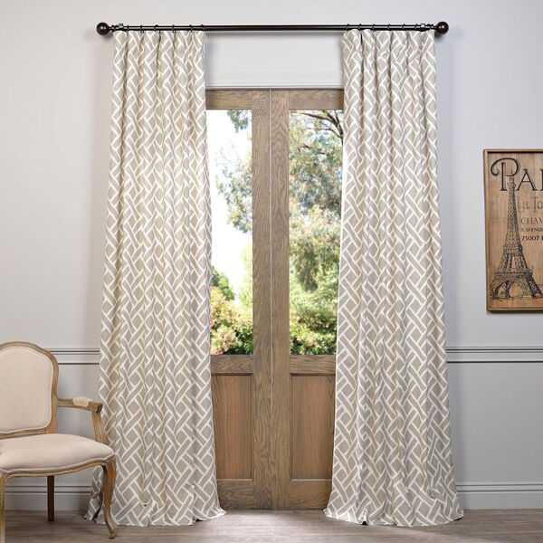 Martinique Taupe 84 x 50-Inch Printed Cotton Curtain Single Panel, image 1