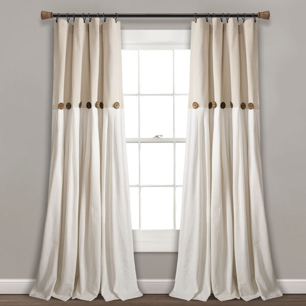 Linen Button Beige and Off White 40 x 108 In. Single Window Curtain Panel, image 1