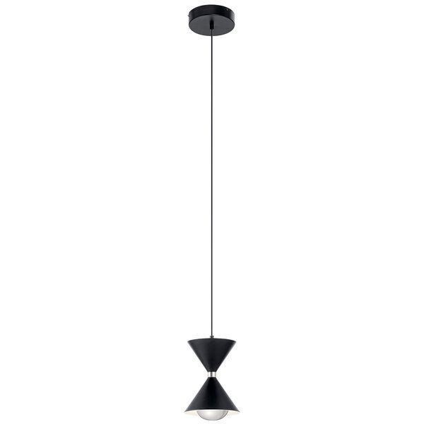 Kordan Matte Black and Gloss White LED Mini Pendant, image 1