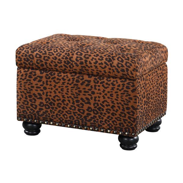 Designs4Comfort 5th Avenue Forest Leopard Print Storage Ottoman, image 1