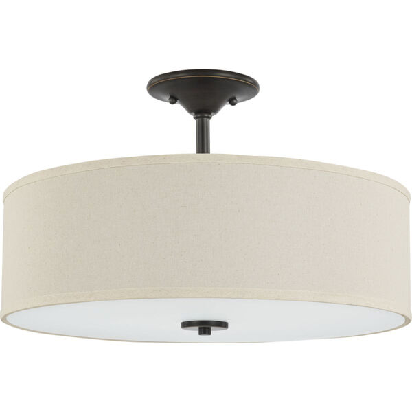 Inspire Antique Bronze 18-Inch Three-Light Semi-Flush Mount with Off White Linen Shade, image 1
