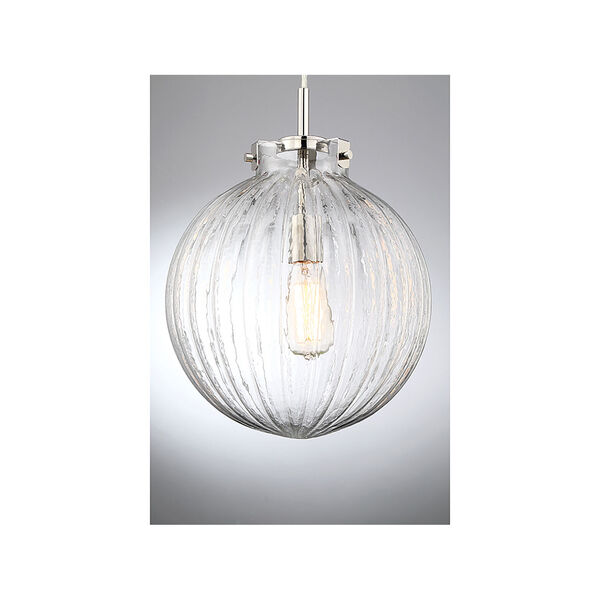 Whittier Polished Nickel One-Light Mini Pendant with Ribbed Glass, image 5