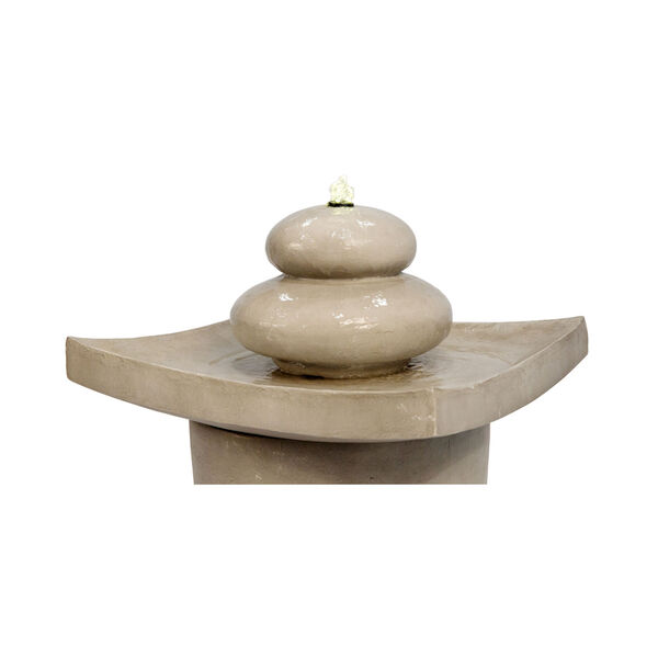 Light Grey Outdoor Zen Stones Two - Tier Fountain with LED Light, image 4
