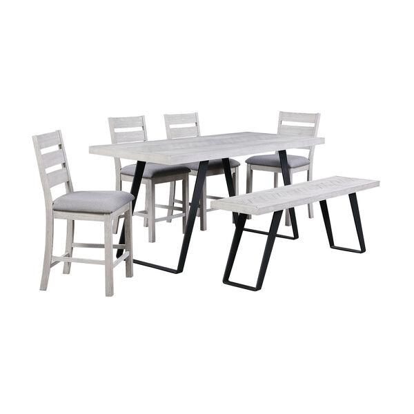 Aspen Court II Court Herringbone White Rub Counter Height Dining Bench, image 6