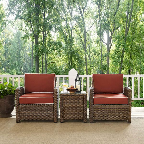 Bradenton Sangria 3-Piece Outdoor Wicker Conversation Set with Cushions, image 4