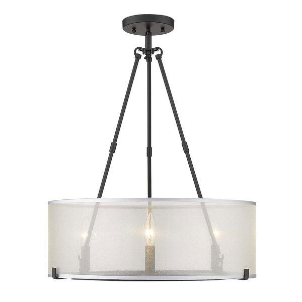 Alyssa Matte Black 20-Inch Three-Light Semi-Flush Mount With Sterling Mist Shade, image 3