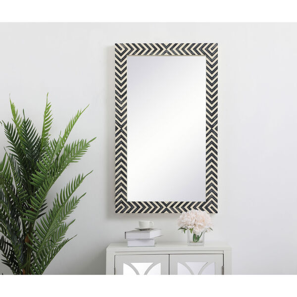 Colette Chevron 24 x 40 Inches Glass and Wood Rectangular Mirror, image 2