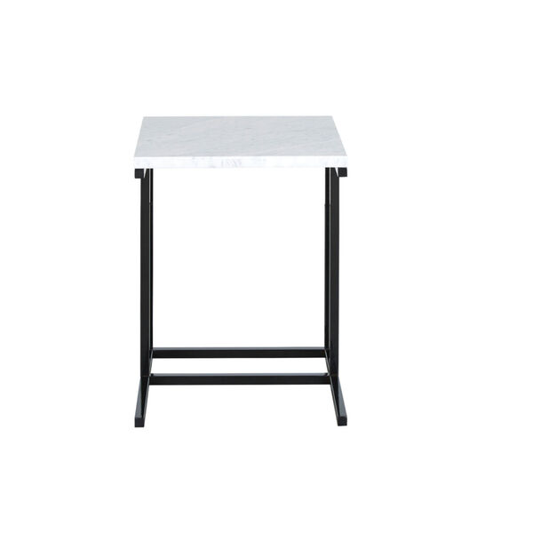 Julien Black Base Chairside Table with White Marble Top, image 1