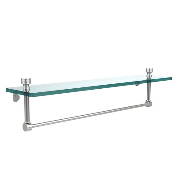 Foxtrot Satin Chrome Single Shelf with Towel Bar, image 1