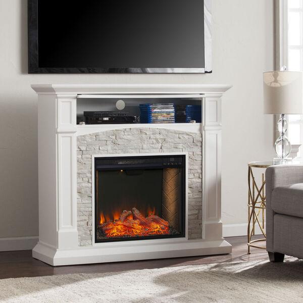 Seneca Crisp White Smart Media Electric Fireplace, image 3