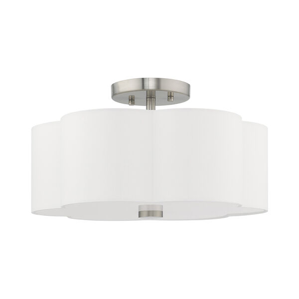 Chelsea Brushed Nickel 15-Inch Three-Light Ceiling Mount with Hand Crafted Off-White Hardback Shade, image 2
