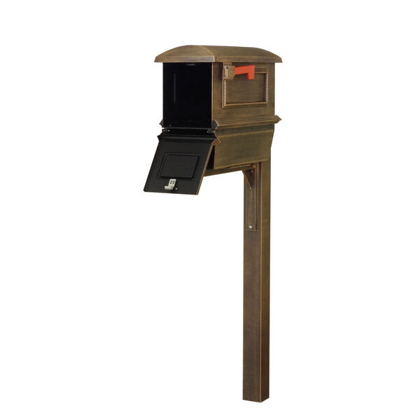 Curbside Copper Mailbox with Newspaper Tube and Wellington Mailbox Post, image 3