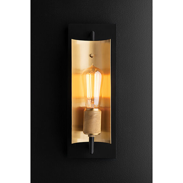 Cleo Black and Brass One-Light Wall Sconce, image 2