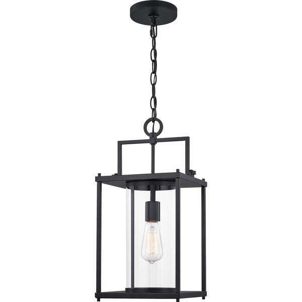 Garrett Matte Black 9-Inch One-Light Outdoor Hanging Lantern with Clear Glass, image 1