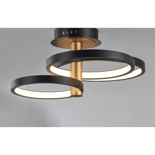 Hoopla Black and Gold Three-Light LED Semi-Flush Mount, image 4