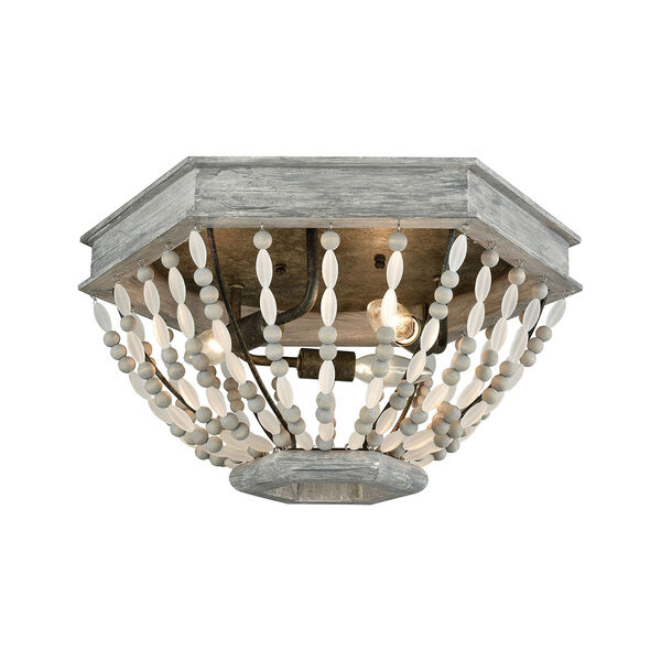 Summerton Washed Gray and Malted Rust Three-Light Flush Mount, image 1